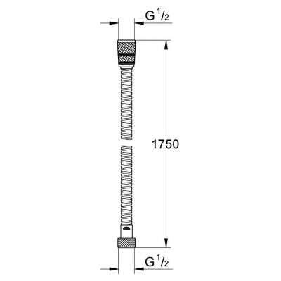 Rysunek techniczny węża prysznicowego Grohe 28025000-image_Grohe_28025000_3