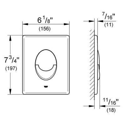 Wymiary techniczne przycisku spłukującego Grohe Skate Air 38505000 -image_Grohe_38505000_3