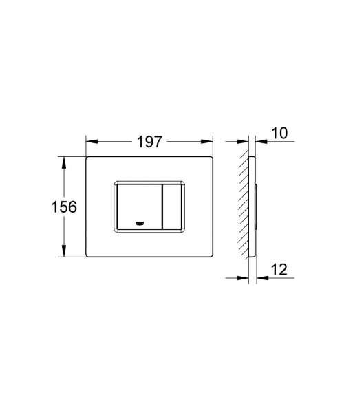 Wymiary przycisku Grohe Skate Cosmopolitan 38732000 w wersji zamontowanej poziomo.-image_Grohe_38732000_7