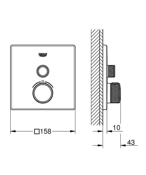 rysunek techniczny termostatu na 1 odbiornik grohe 29123000-image_Grohe_29123000_3