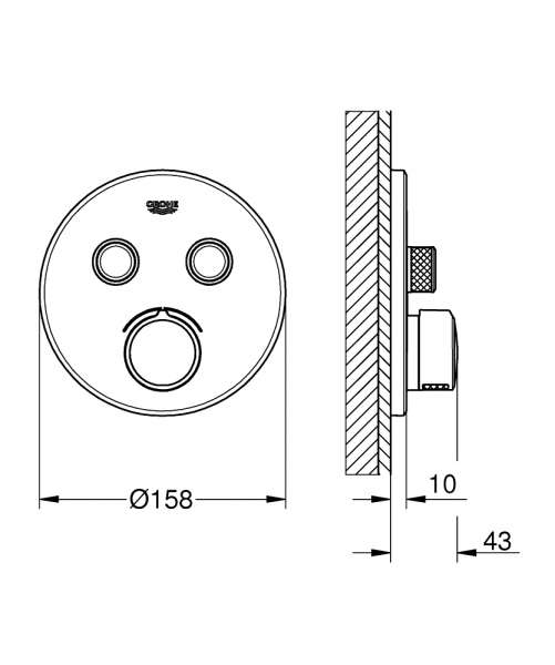 Wymiary techniczne elementu Grohe SmartControl 29 145 000.-image_Grohe_29145000_4