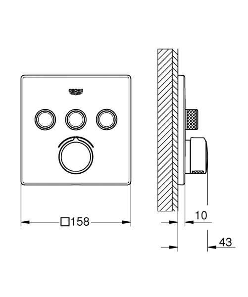 Wymiary techniczne podtynkowej baterii do sterowania trzema odbiornikami Grohe 29149000.-image_Grohe_29149000_3