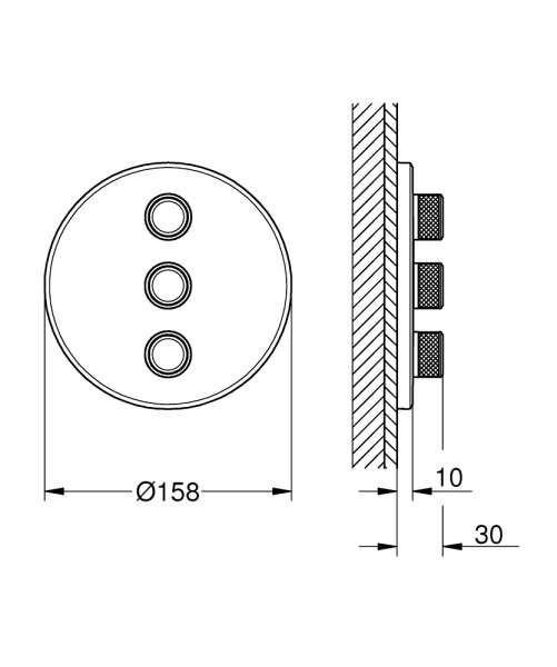 Rysunek techniczny zaworu odcinającego grohe smartcontrol 29122000 -image_Grohe_29122000_3