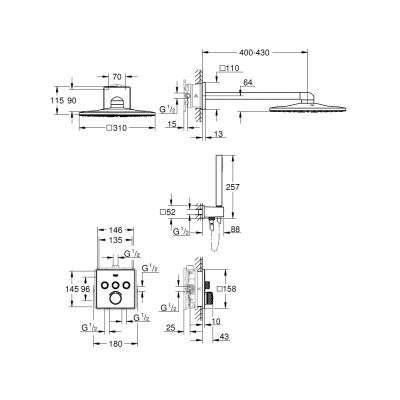 Wymiary techniczne elementów z podtynkowego zestawu prysznicowego Grohe Smartcontrol 34712000-image_Grohe_34712000_2