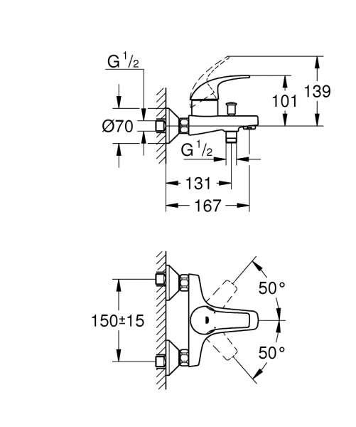 Wymiary tchniczne natynkowej baterii wannowej Grohe Start Curve-image_Grohe_23768000_2