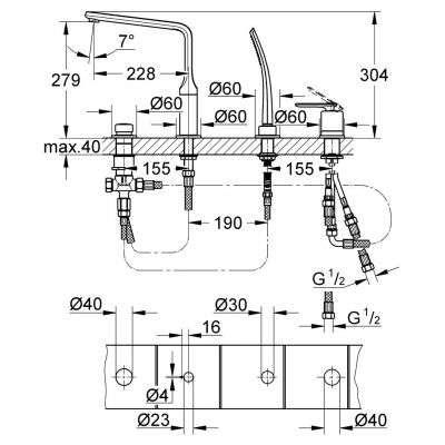 Wymiary techniczne baterii wannowej Grohe Veris 19373000-image_Grohe_19373000_3
