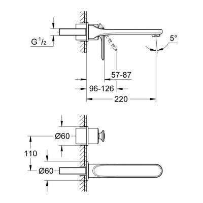 Wymiary techniczne baterii umywalkowej Grohe Veris 19388000-image_Grohe_19388000_3