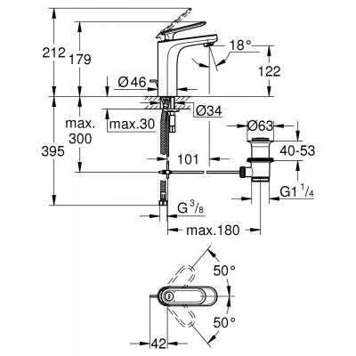 Wymiary techniczne baterii umywalkowej Grohe Veris 23064000-image_Grohe_23064000_3