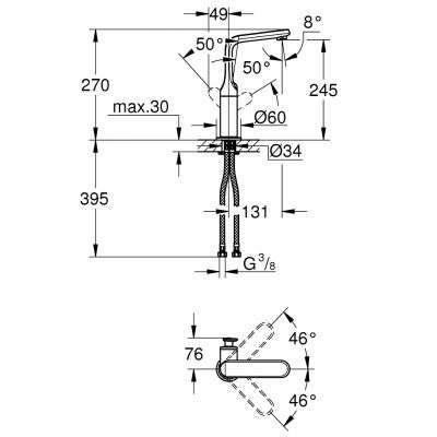 Wymiary techniczne baterii umywalkowej Grohe Veris 32187000-image_Grohe_32187000_3