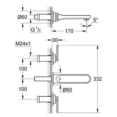 Wymiary techniczne baterii umywalkowej Grohe Veris 20181000-image_Grohe_20181000_3