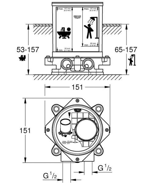 Wymiary techniczne elementu podtynkowego do kolumn wannowych Grohe 45984001.-image_Grohe_45984001_4
