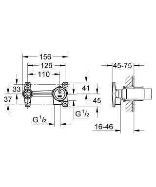 Wymiary podstawowego elementu do baterii umywalkowych podtynkowych Grohe 32635000-image_Grohe_32635000_4