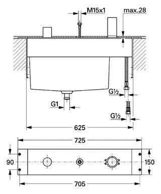 Rysunek techniczny elementu 33 339 000-image_Grohe_33339000_3