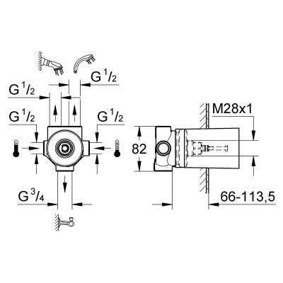 Rysunek techniczny zaworu podtynkowego 29033000-image_Grohe_29033000_3