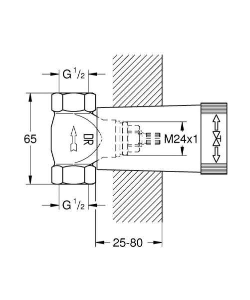 Rysunek techniczny elementu wewnętrznego zaworu Grohe 29800000-image_Grohe_29800000_4