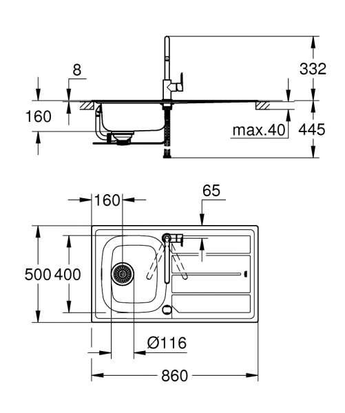 Wymiary techniczne zlewu K200-image_Grohe_31562SD0_2