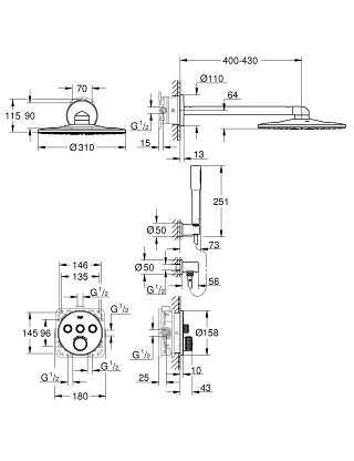 Wymiary techniczne podtynkowego zestawu prysznicowego z termostatem Grohe Grohtherm Smartcontrol 34705000-image_Grohe_34705000_2
