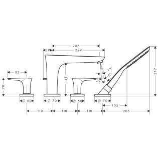 Wymiary techniczne baterii wannowej Hansgrohe PuraVida 15446400-image_Hansgrohe_15446400_3