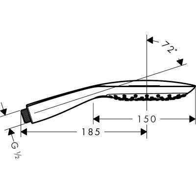 Wymiary techniczne słuchawki Raindance Select E EcoSmart 26551400