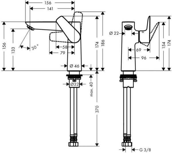 Rysunek techniczny baterii Hansgrohe Talis E 71755000-image_Hansgrohe_71755000_4
