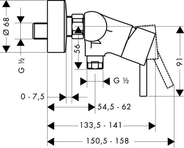 Wymiary baterii prysznicowej Hansgrohe Talis S2 32640000 -image_Hansgrohe_32640000_3