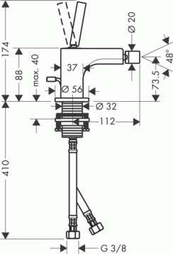 Rysunek techniczny baterii bidetowej Citterio 3921000-image_Hansgrohe_39210000_3