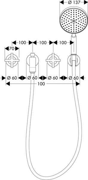 Rysunek techniczny baterii wannowej Hansgrohe Axor Citterio 39447000-image_Hansgrohe_39447000_3