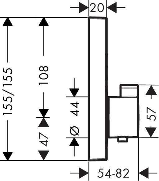 Wymiary techniczne termostatycznej baterii podtynkowej Hansgrohe ShowerSelect 15763000-image_Hansgrohe_15763000_4
