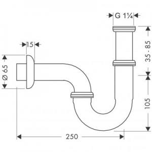 Rysunek techniczny syfonu do umywalki Hansgrohe 53002000-image_Hansgrohe_53002000_2