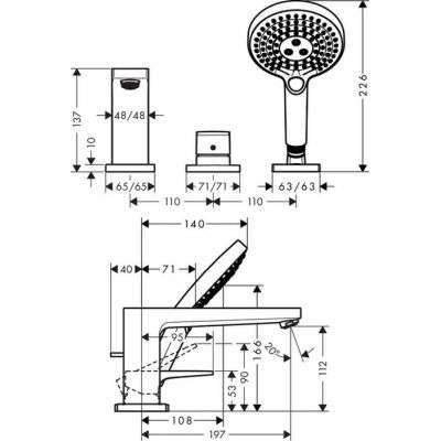 Rysunek techniczny baterii Metropol 32551000-image_Hansgrohe_32551000_4