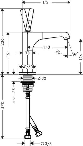 Rysunek techniczny baterii umywalkowej Citterio E 36101000-image_Hansgrohe_36101000_3