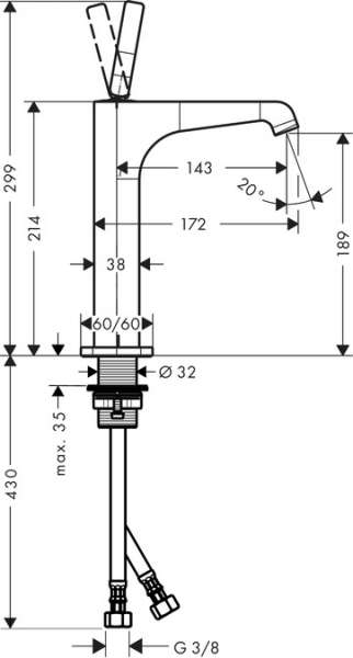 Wymiary techniczne wysokiej baterii umywalkowej Citterio E 36103000-image_Hansgrohe_36103000_3
