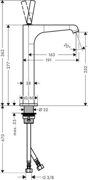 Wymiary techniczne baterii Citeriio E 36104000-image_Hansgrohe_36104000_3