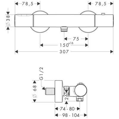 Rysunek techniczny termostatu prysznicowego 34635 000-image_Hansgrohe_34635000_3