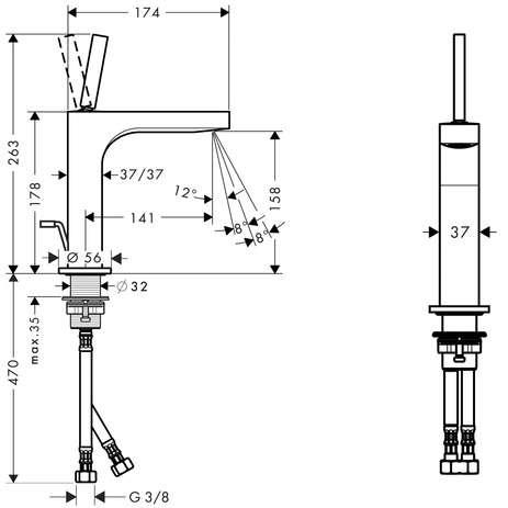 Rysunek techniczny baterii umywalkowej Hansgrohe Axor Citterio 39031000-image_Hansgrohe_39031000_3