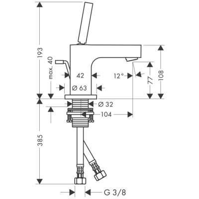 Rysunek techniczny baterii umywalkowej Hansgrohe Axor Citterio 39015000-image_Hansgrohe_39015000_3