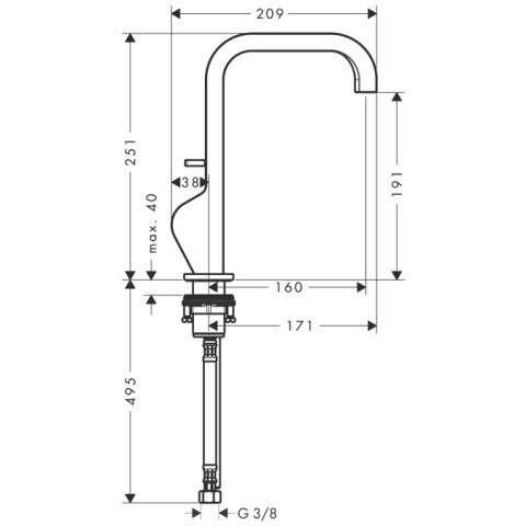 Rysunek techniczny baterii umywalkowej Hansgrohe Axor Citterio 39034000-image_Hansgrohe_39034000_3