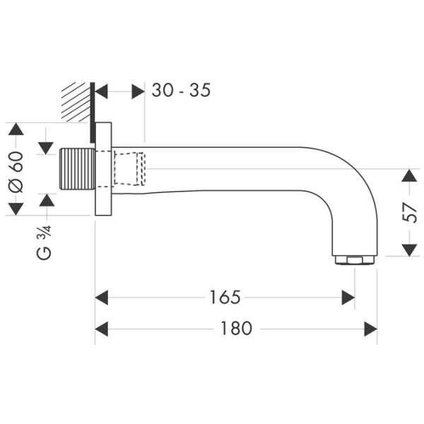 Rysunek techniczny baterii wannowej Hansgrohe Axor Citterio 39448000-image_Hansgrohe_39410000_3