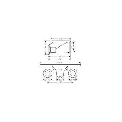 Rysunek techniczny baterii umywalkowej Massaud-image_Hansgrohe_18112000_3