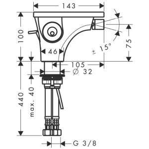Wymiary techniczne jednouchwytowej baterii bidetowej Hansgrohe Axor Massaud 18210000-image_Hansgrohe_18210000_3