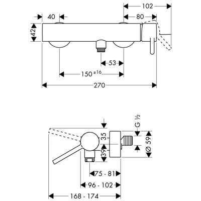 rysunek techniczny baterii prysznicowej Starck-image_Hansgrohe_10611000_3
