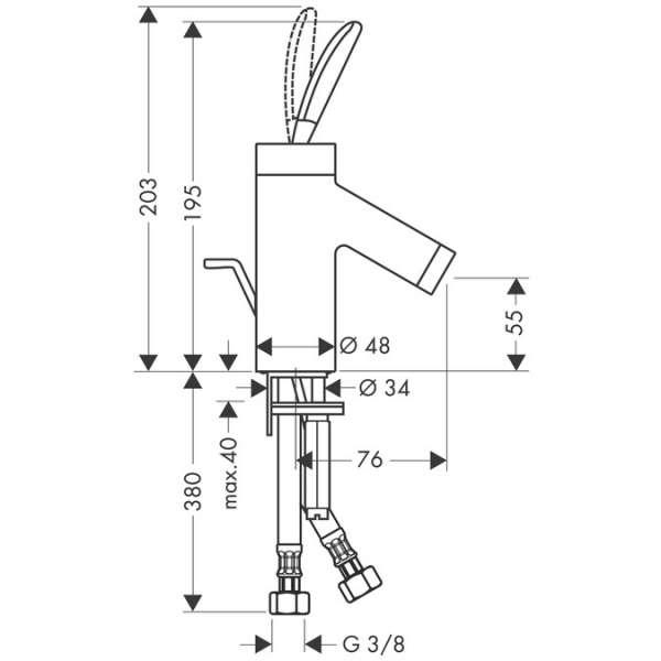 Rysunek techniczny baterii Hansgrohe Starck Classic 10015000-image_Hansgrohe_10015000_3
