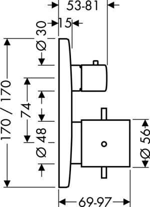 Wymiary techniczne podtynkowej baterii prysznicowej termostatycznej Hansgrohe Axor Starck X 10706000-image_Hansgrohe_10706000_3