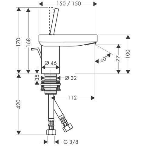 Wymiary techniczne jednouchwytowej baterii umywalkowej Hansgrohe Axor Starck X 10070000-image_Hansgrohe_10070000_3