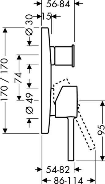 Wymiary techniczne baterii wannowej podtynkowej Hansgrohe Starck X 10445000-image_Hansgrohe_10445000_3