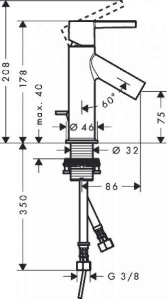 Wymiary techniczne baterii umywalkowej Hansgrohe Axor Starck 10001000-image_Hansgrohe_10001000_3