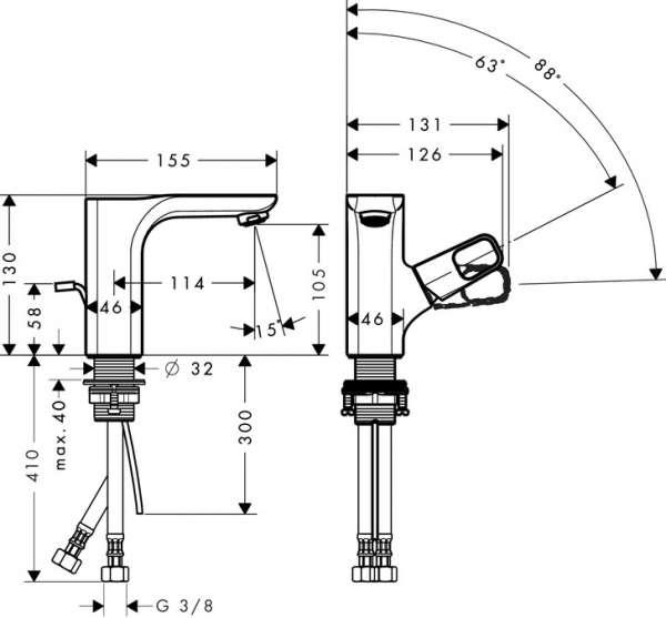 Wymiary techniczne baterii Urquiola 11025000-image_Hansgrohe_11025000_3
