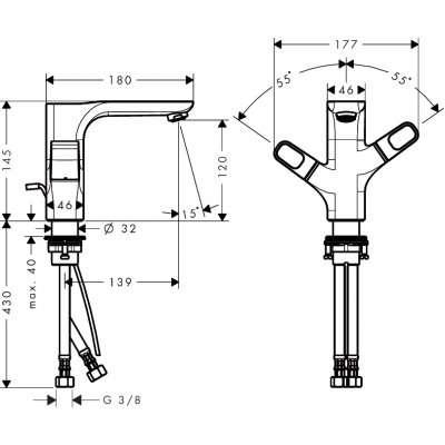 Rysunek techniczny baterii umywalkowej 11024000-image_Hansgrohe_11024000_3