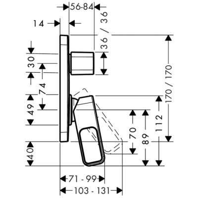 Rysunek techniczny baterii Urquiola 11425000-image_Hansgrohe_11425000_3