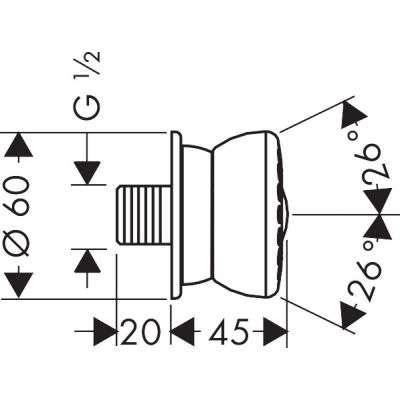Wymiary techniczne dyszy bocznej do prysznica -image_Hansgrohe_28466000_2